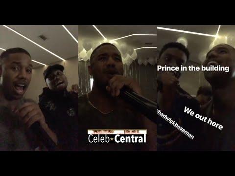 """Black Panther's"" MICHAEL B. JORDAN & CHADWICK BOSEMAN sing Karaoke in Seoul! Totally LOL-worthy!"