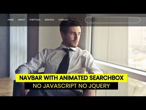 Responsive Navigation Bar with animated Search Box | No Javascript No Jquery