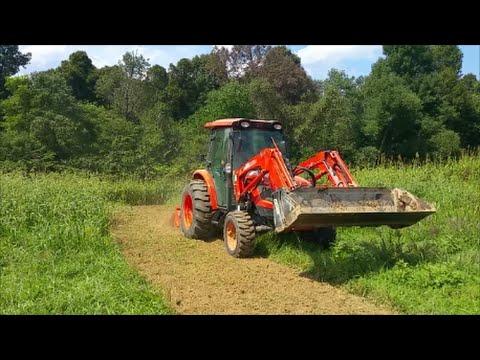 Fall food plot prep-9-4-16-Tilling the Nastiest of weeds with the Kioti NX6010