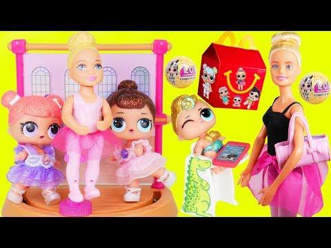 Unicorn Family L.O.L. Surprise Dolls Babies visit Barbie Ballet Playset Pet Prank + GOLD BALL!