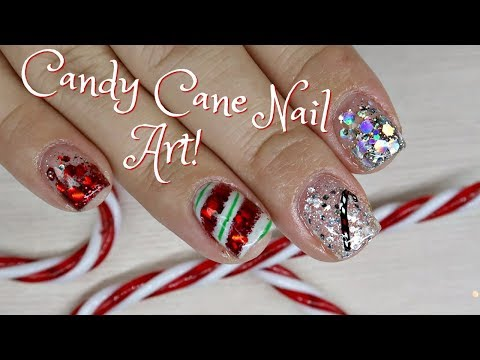 Candy Cane Gel Nail Art Tutorial on Short Nails! | Day 1
