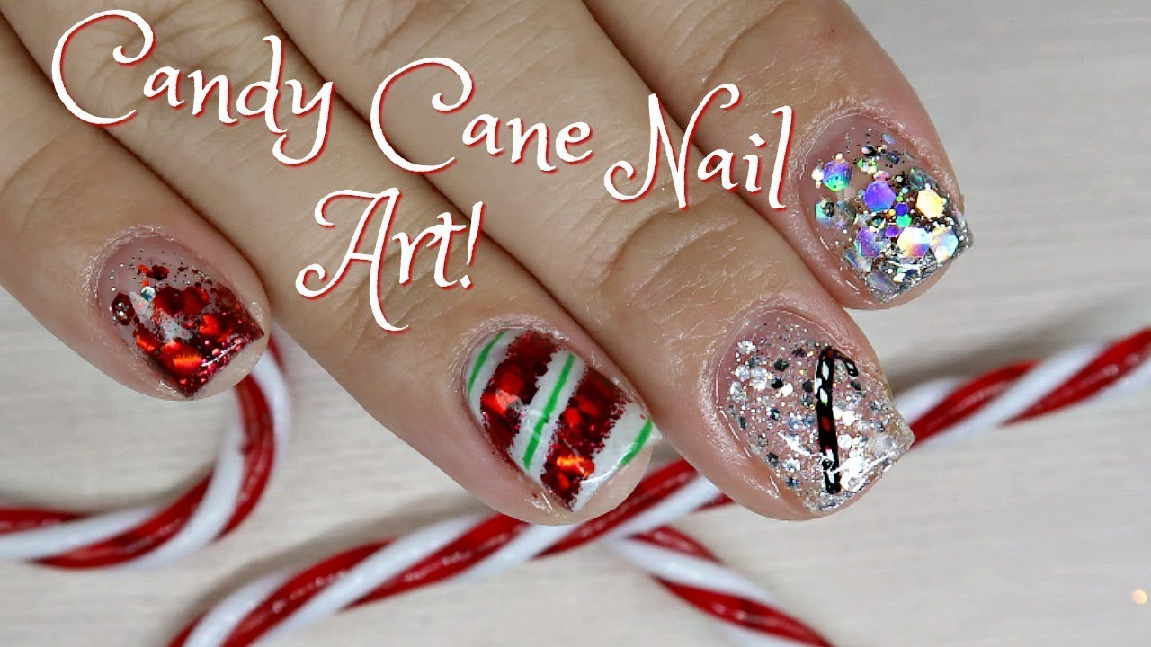 Candy Cane Gel Nail Art Tutorial On Short Nails Day 1 Youtube