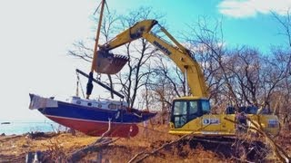 Hurricane Sandy Aftermath - Sailboat Recoveries in Staten Island