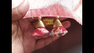 How to make Saree tassels/kuchu #49 ,DIY latest hand made fabric Saree pallu design/ village skills