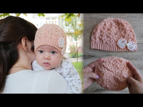 Вязание для новорожденных девочек шапочек спицами с описанием