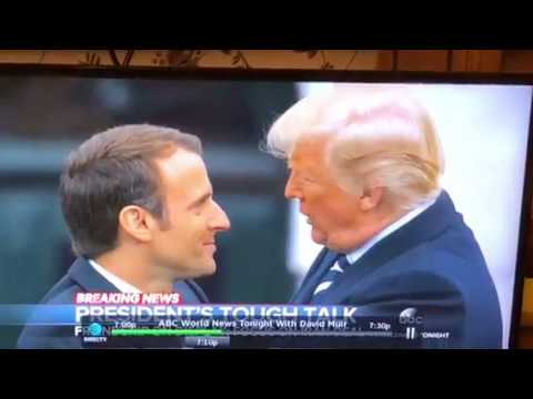 Donald Trump Wipes Dandruff Off French President Macron