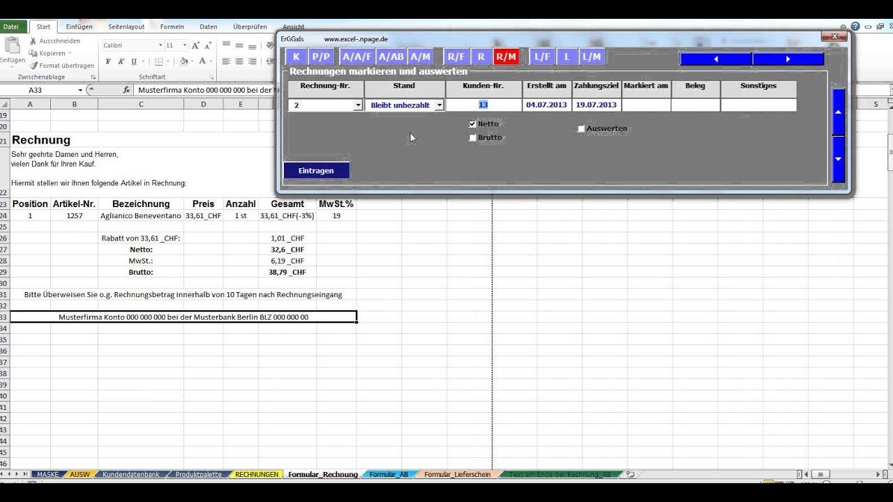 7 Auftragsabwicklung In Excel Vba Rechnungen Markieren Und