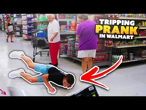 TRIPPING OVER PEOPLE'S SHOPPING CARTS IN WALMART PRANK!!