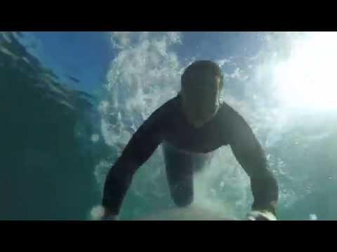 GoPro Hero 4 - Surfing Blacks Beach Firing Offshore, 5' overhead. GOT ROCKED