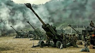 artillery-battery-barrage-u-s-rok-marines-live-fire