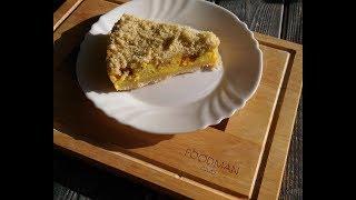 Насыпной пирог с творогом и джемом