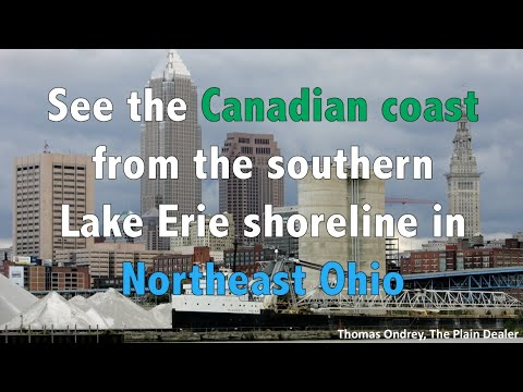 See the Canadian coast from the Northeast Ohio Lake Erie shoreline during a temperature inversion