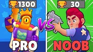 PRO vs NOOB w BRAWL STARS   30 PUCHARKÓW vs 1300 - KTO WYGRA?