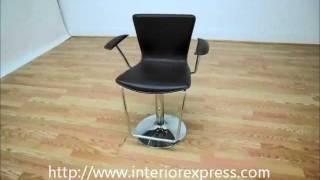 Interiorexpress Metro Brown Leather Adjustable Swivel Bar Stool