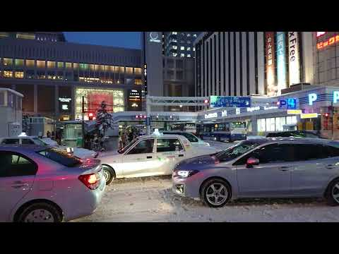 雪の札幌。ツルツルの道を走る車も人も東京では考えられない上手さ!