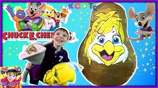 GIANT Surprise Egg Opening CHUCK E CHEESE'S Helen Henny Kids Video with Surprise Toys