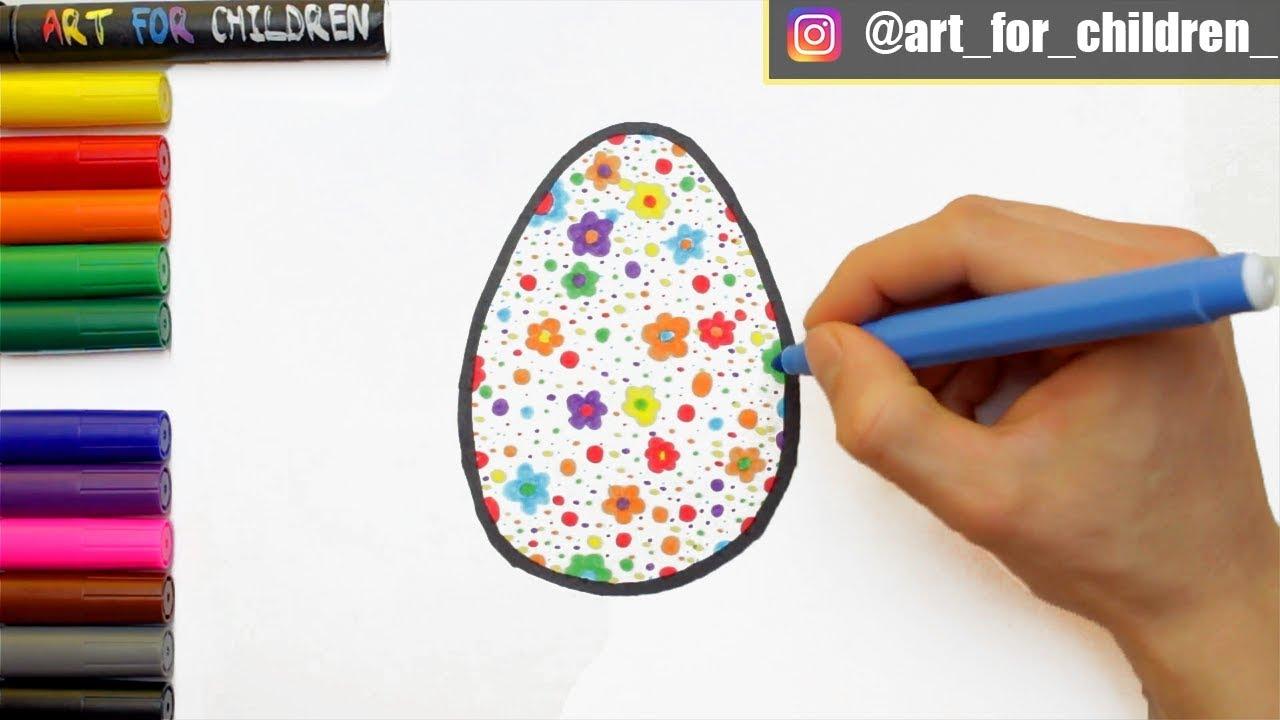 osterei zeichnen  ausmalen für kinder  schritt für