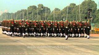 Indian Army marching at Republic Day rehearsal 2013