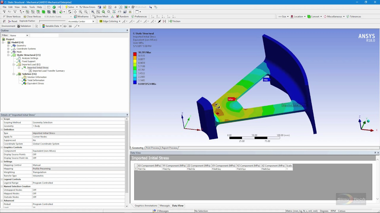 ANSYS FEA Videos: Mapping Stresses using an External Data System