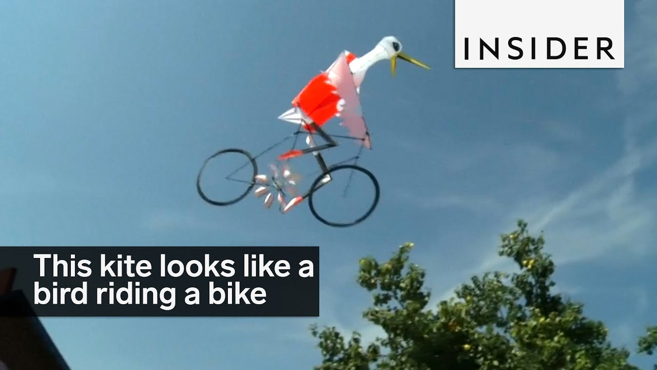 a designer created a kite that looks like a bird riding a bike