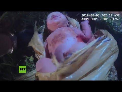 Las duras imágenes del rescate de una bebé abandonada en una bolsa de basura