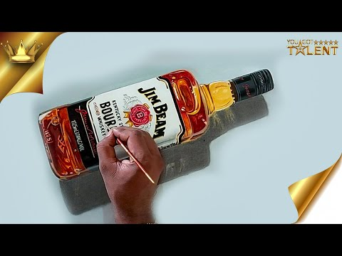 Realistic bottle painted LIVE on YouTube | You Got Talent