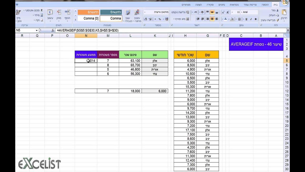 לימוד אקסל שיעור 46 - נוסחת / פונקציית AVERAGEIF (ממוצע עם תנאי)