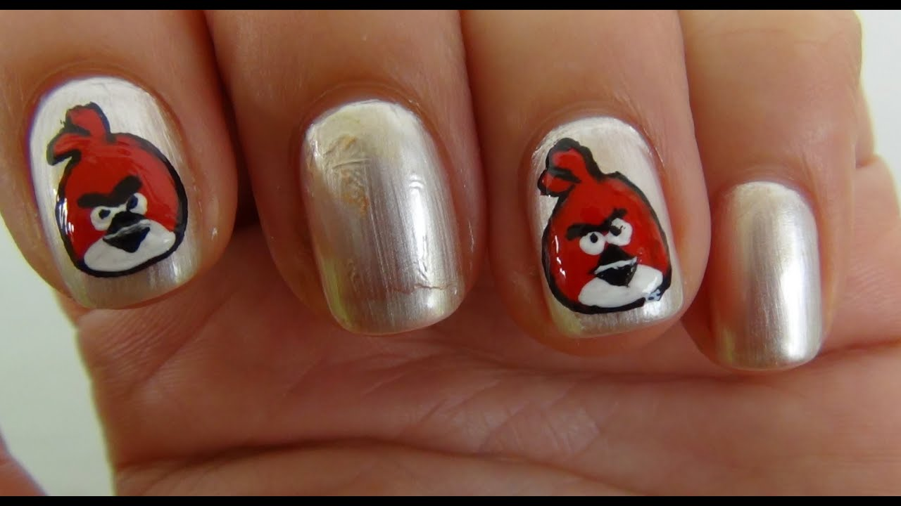 Nail Art Tutorial For Beginners - Angry Bird - YouTube