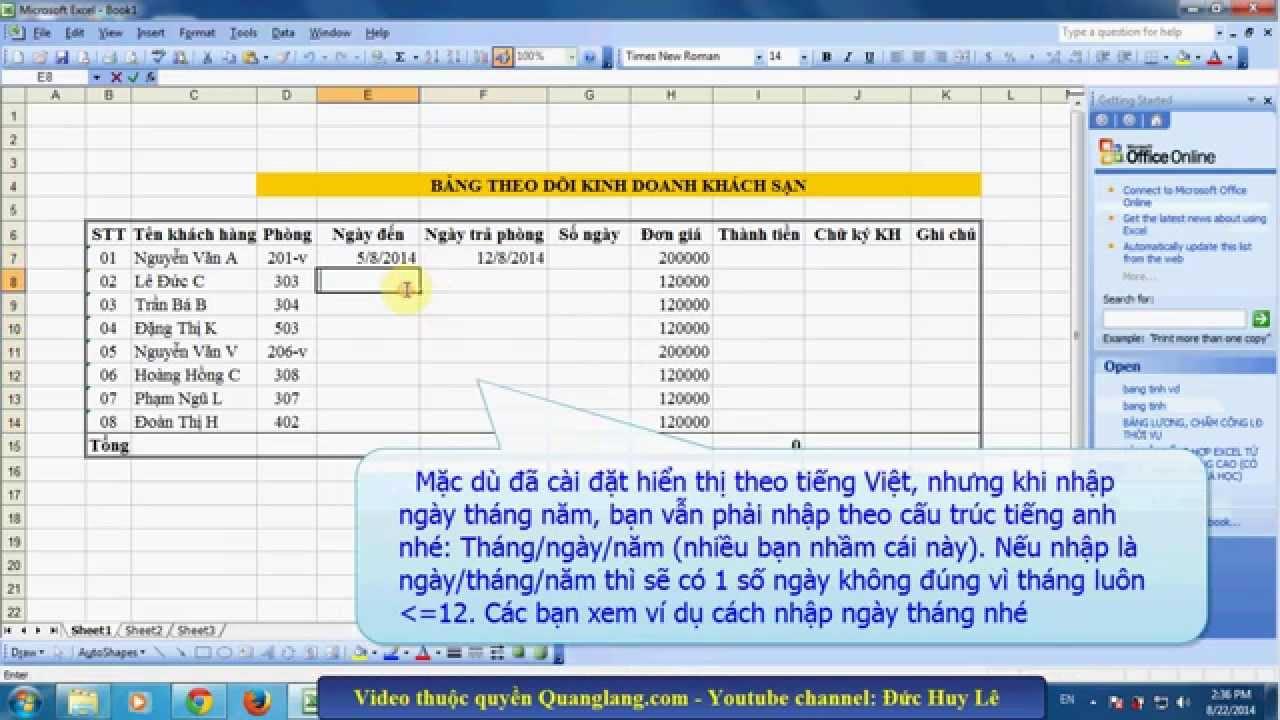 Cách định dạng ngày tháng năm trong Excel