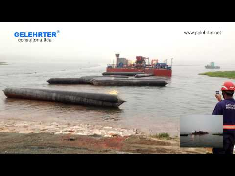 Shore Approach 600 tons Drilling Barge Launching with Airbags