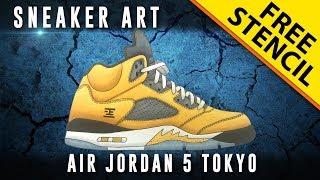 Sneaker Art: Air Jordan 5 Tokyo w/ Downloadable Stencil