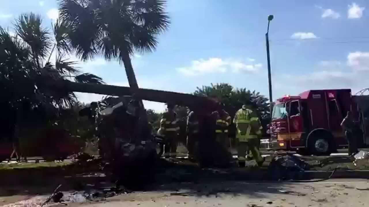 Crazy deadly car crash aftermath west palm beach Florida