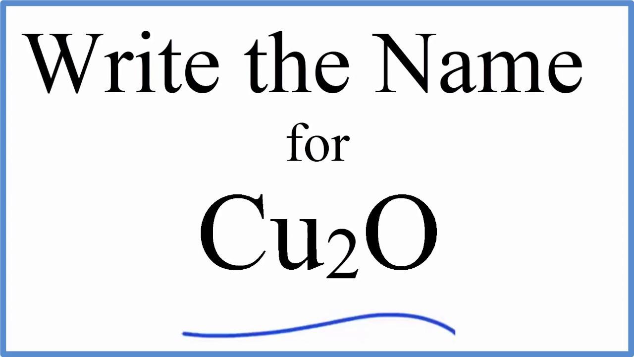 How To Name K2o