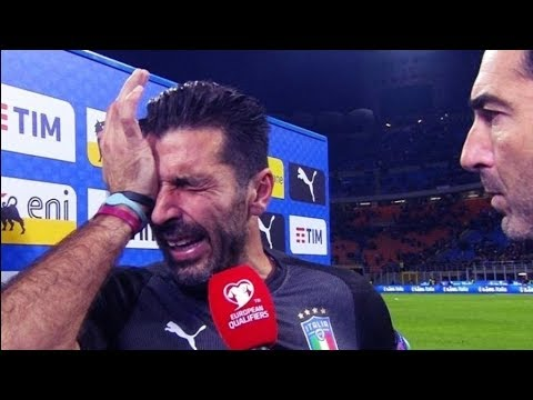 Gianluigi Buffon is Crying after Elimination vs Sweden • World Cup 2018
