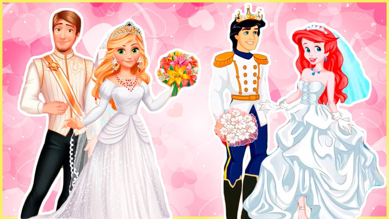 Disney Princesses Rapunzel and Ariel Wedding with Flynn Rider and