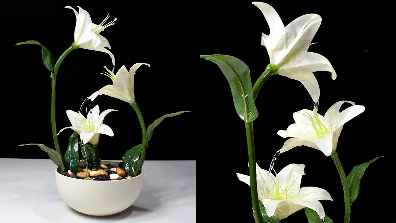 Diy Amazing Lily Flowers Tabletop Water Fountain How To Make Awesome Waterfall Fountain At Home Youtube