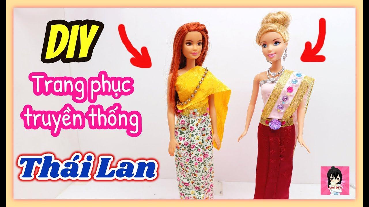 Cách làm trang phục Thái Lan cho búp bê / DIY a Thai dress for dolls / Ami DIY