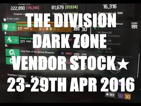 The Division : Dark Zone Vendor Stock 23rd - 29th April 2016 (AEST)☆