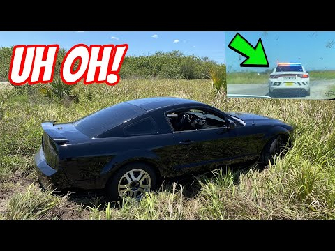 Amateur Drifter Sends Mustang into a Ditch and then the COPS Came