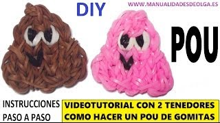 Repeat youtube video COMO HACER UN POU DE GOMITAS (LIGAS) CHARMS CON DOS TENEDORES