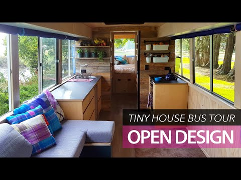 Tiny house school bus conversion - tour young family home for small house design ideas
