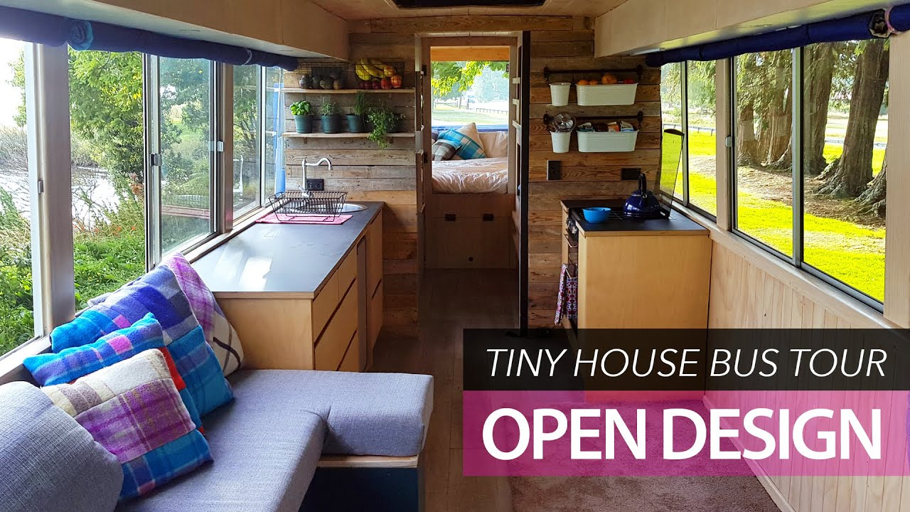 School Bus Conversion Small Home Tour Off Grid Family Tiny