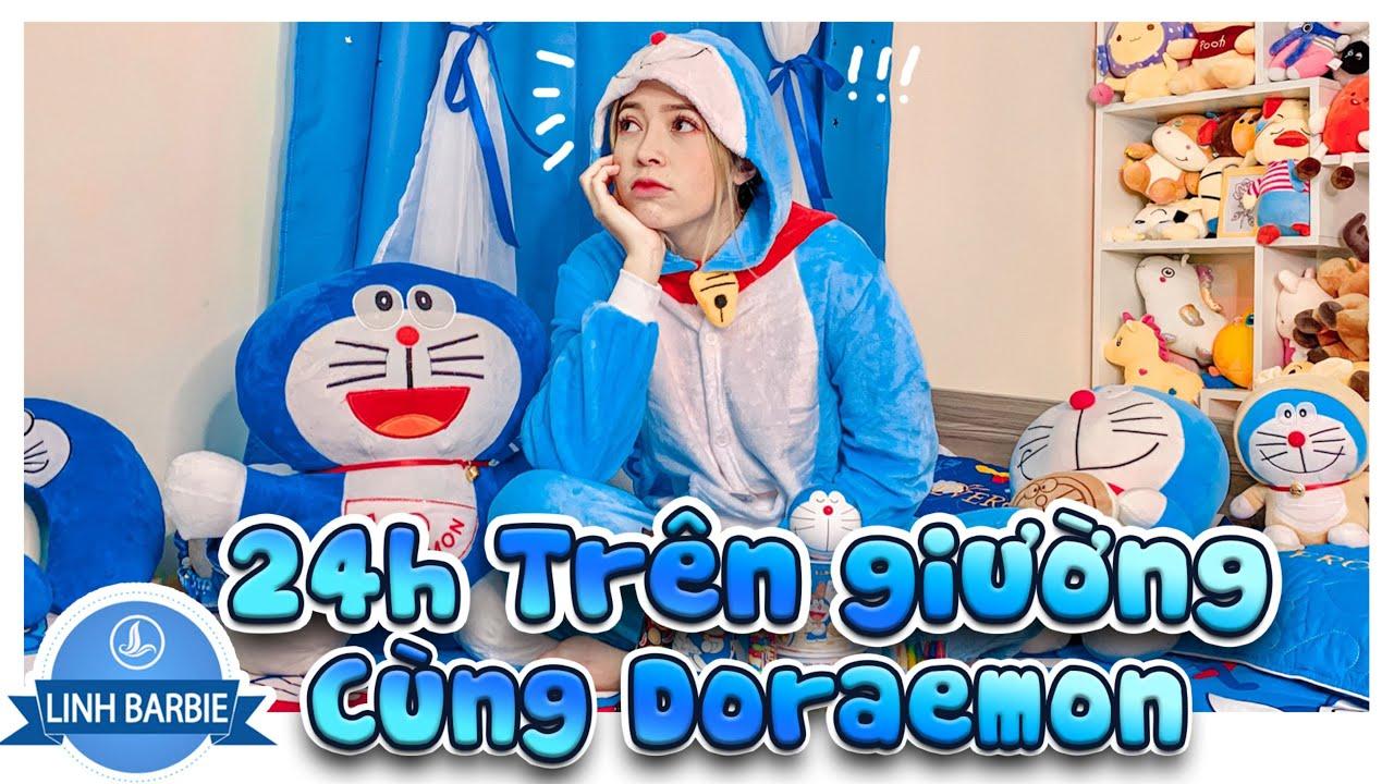 Linh Barbie Thử Thách 24H Trên Giường Cùng Doraemon I Linh Barbie Vlog