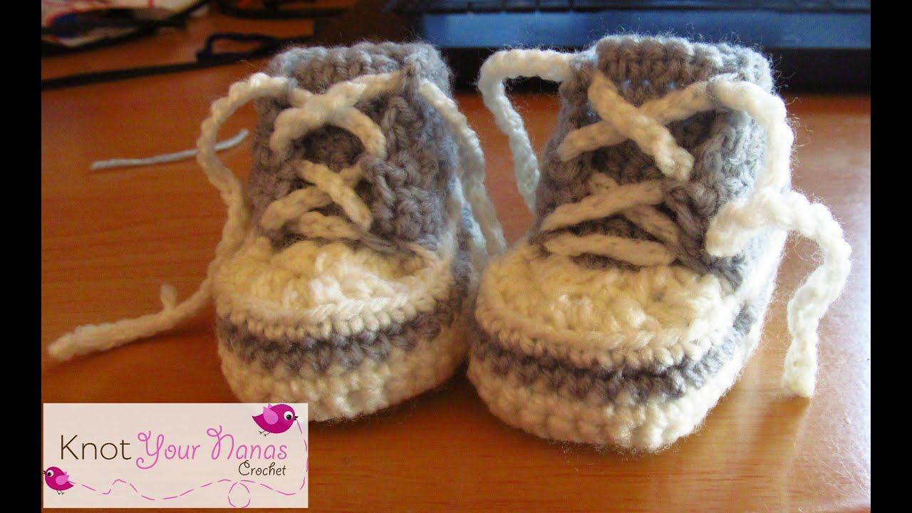 Free Knitting Pattern For Baby Tennis Shoes : Newborn Crochet Converse Booties - YouTube