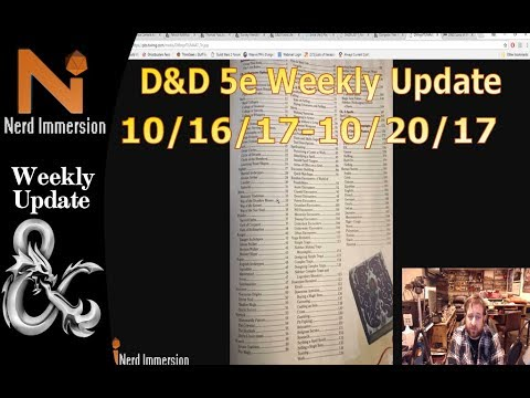 D&D Weekly Update-Xanathar's Table of Contents! (10/16/17-10/20/17) | Nerd Immersion