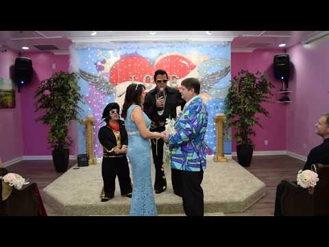 Mamie and Marty wedding with mini Elvis and Elvis singing a Duet in Las Vegas