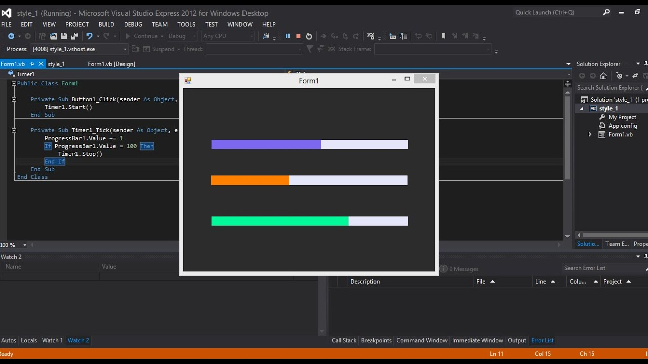 VIsual Studio 2015 Change Progress Bar Color In Vb