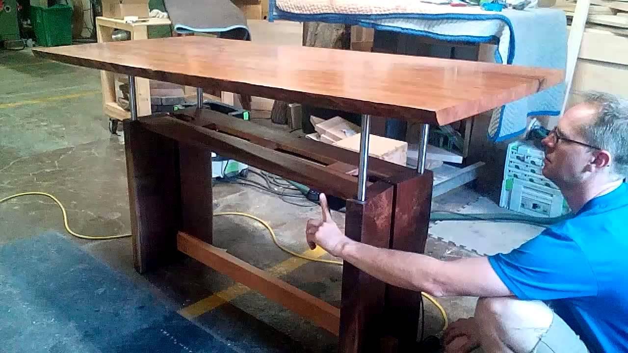 Custom Adjustable Height Desk YouTube - Adjustable height desk diy