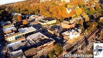 Aerial footage of Parkville Missouri