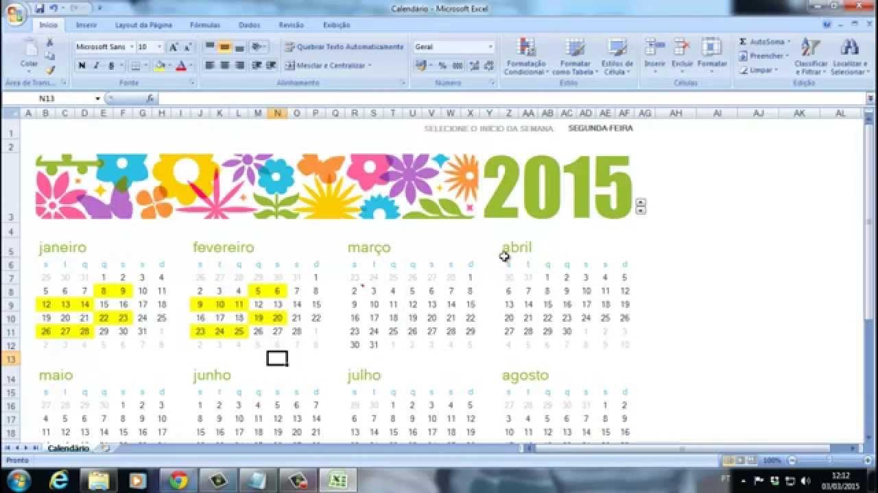 Calendario Su Excel.Como Fazer Um Calendario Editavel No Excel Usando Modelos